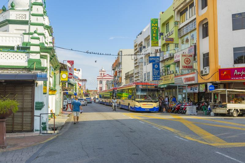 Street view of little India in Georgetown in Penang, Malaysia royalty free stock images