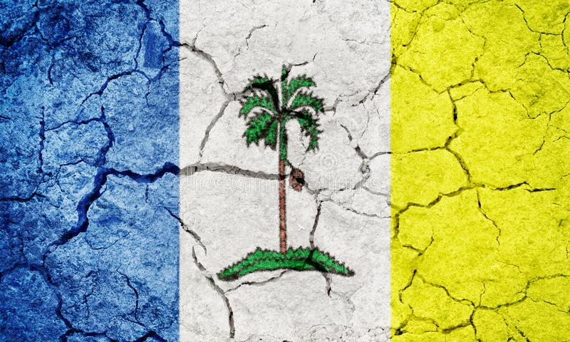 Penang, Malaysian state, flag. On dry earth ground texture background stock illustration