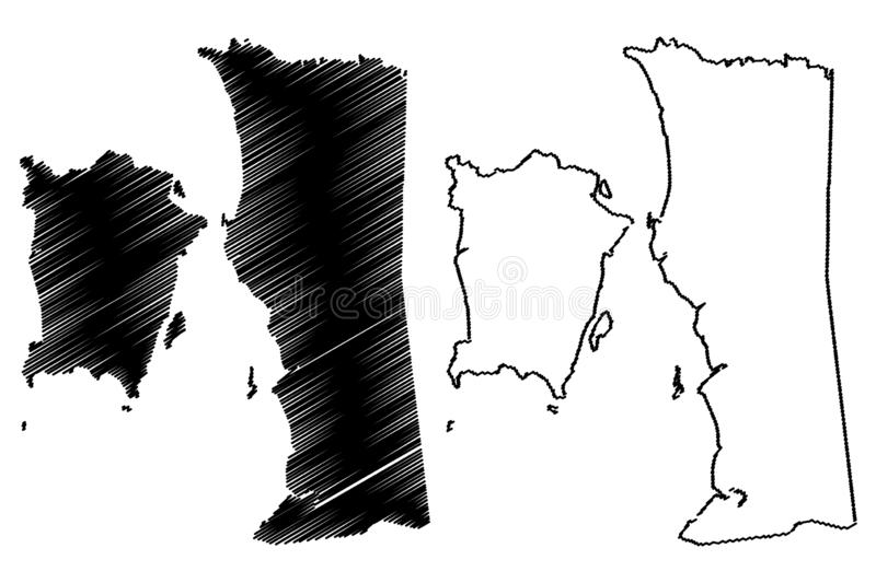 Penang map vector. Penang States and federal territories of Malaysia, Federation of Malaysia map vector illustration, scribble sketch State of Penang map vector illustration
