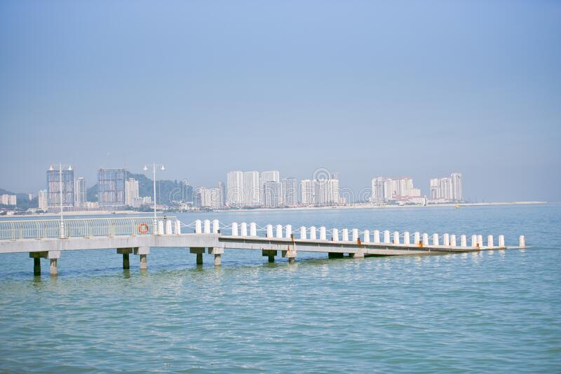 Penang Sea View With Jetty royalty free stock image