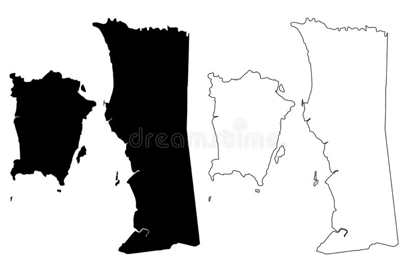 Penang States and federal territories of Malaysia, Federation of Malaysia map vector illustration, scribble sketch State of. Penang map stock illustration