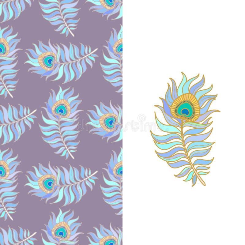 Penas coloridas do pavão Teste padrão sem emenda do vetor imagem de stock