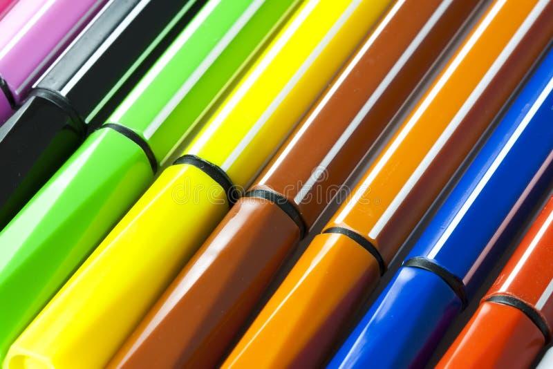 Penas de marcador coloridas fotografia de stock