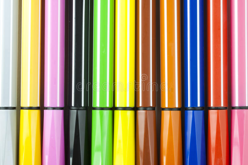 Penas de marcador coloridas foto de stock