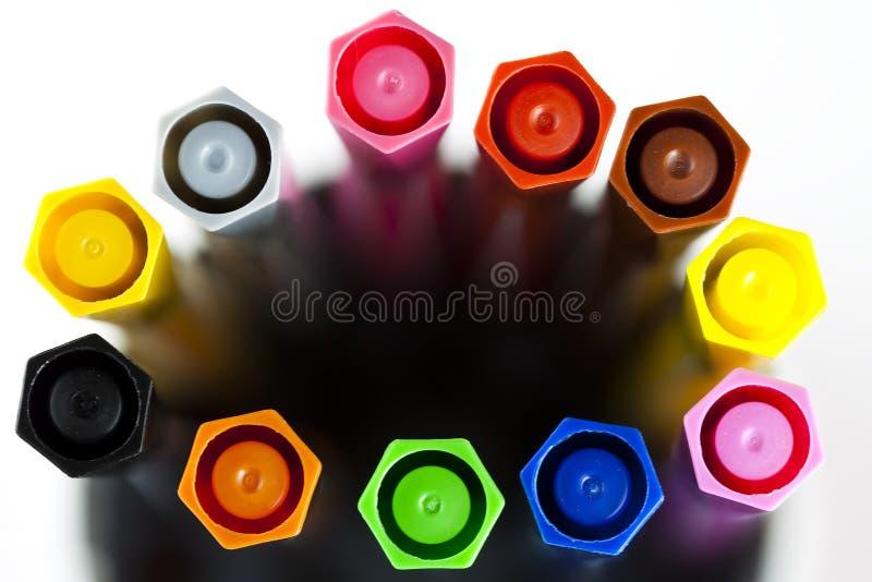 Penas de marcador coloridas imagem de stock