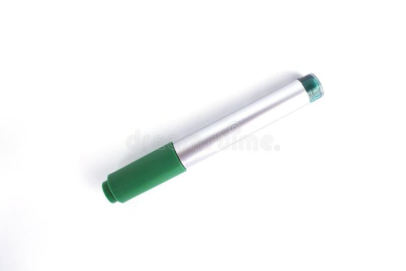 Penas de marcador verdes isoladas no fundo branco imagens de stock royalty free