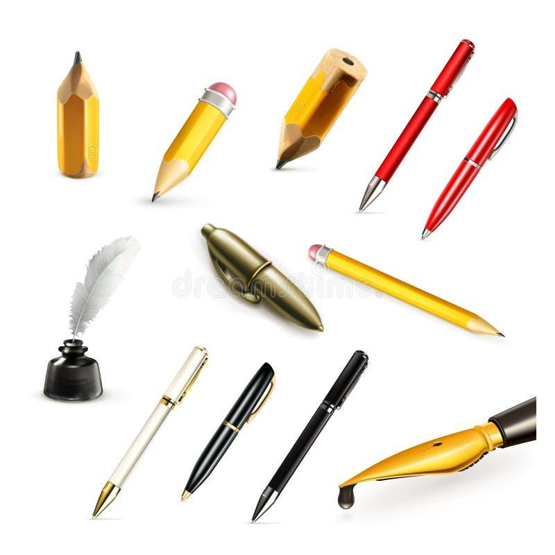 Penas e ícones do vetor dos lápis ilustração royalty free