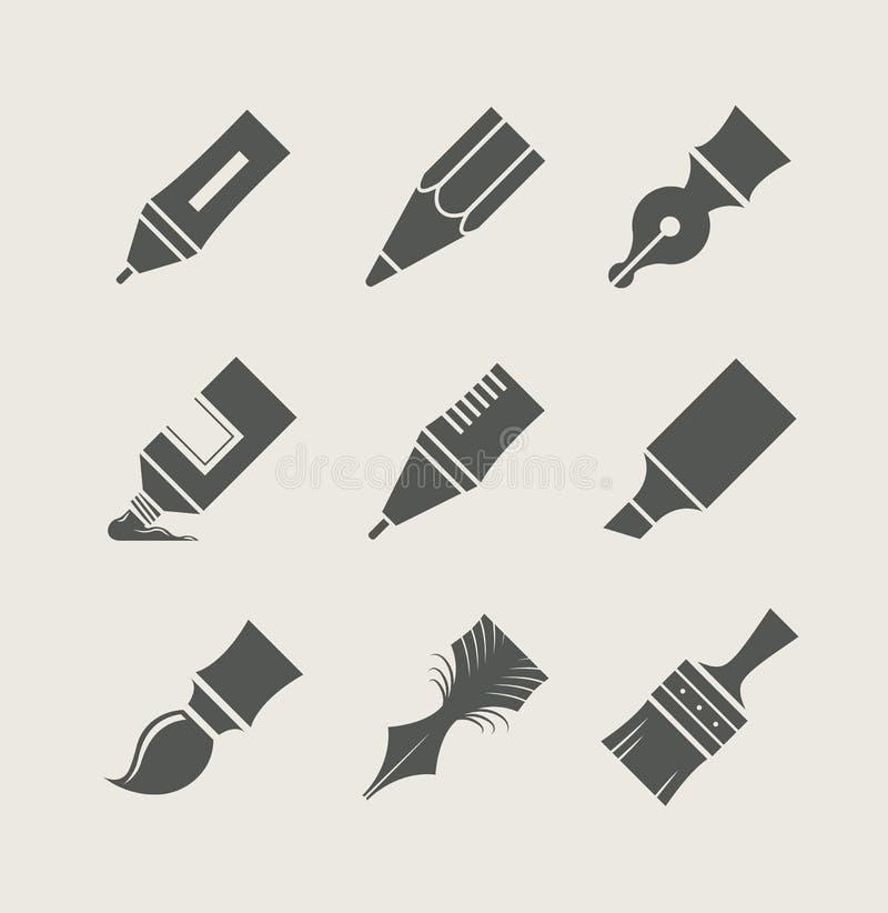Penas e escovas para tirar. Grupo de ícones simples ilustração royalty free