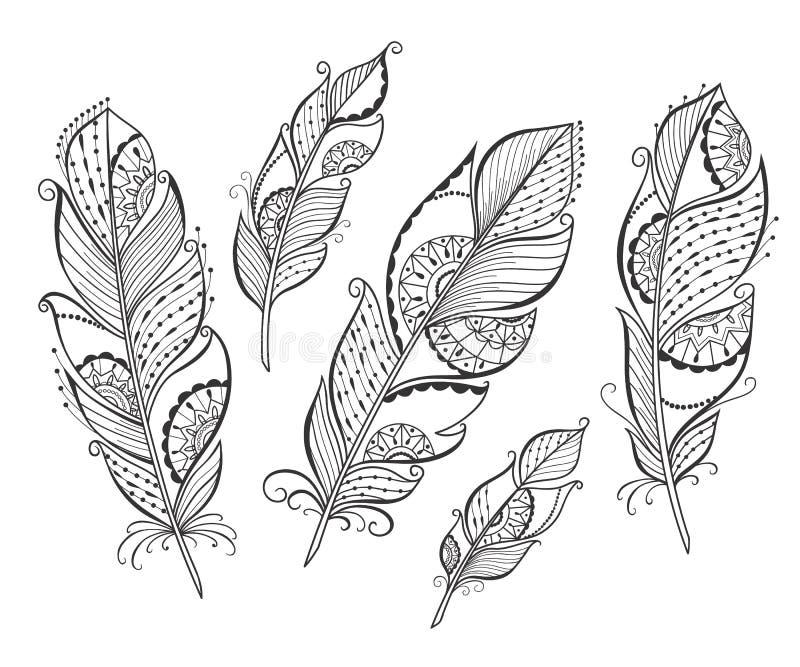 Penas estilizados tiradas mão de Zentangle ilustração royalty free