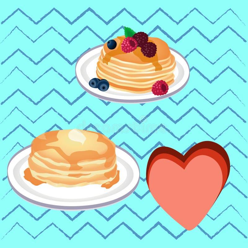Pencakes用蜂蜜 库存图片