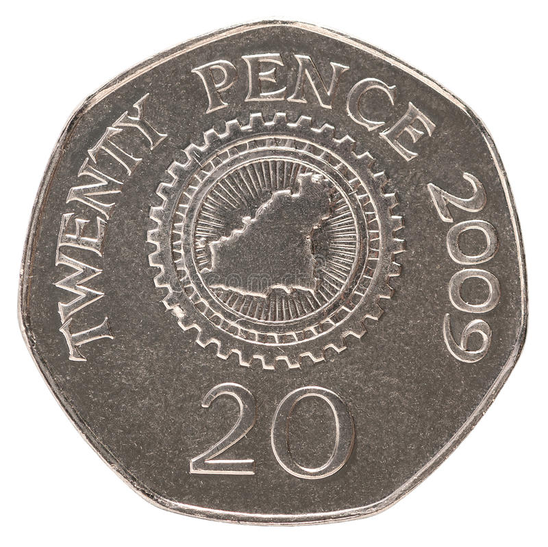 20 pence coin. 20 pence Bailiwick of Guernsey with the image of a island map within cogwheel royalty free stock images