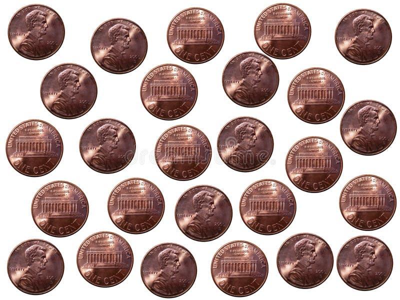 Pence op witte achtergrond stock afbeeldingen