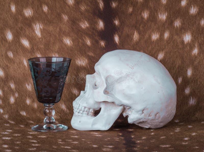 Penchant Crâne et verre de vin devant l'un l'autre images libres de droits