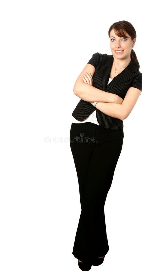 Penchement de femme d'affaires images stock