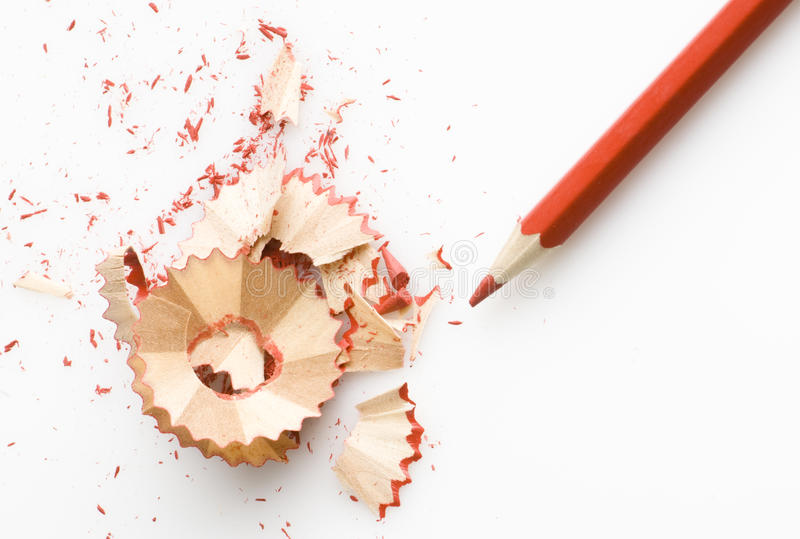 Pencil. Sharpened pencil and wood shavings stock photos