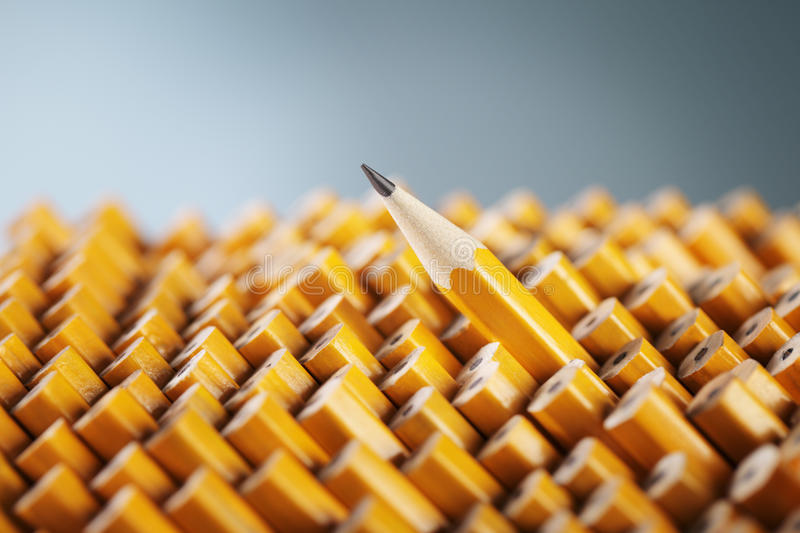 Pencil. One sharpened pencil standing out from the blunt ones stock images