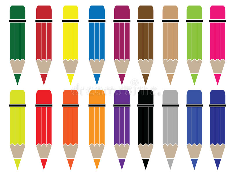 Download Pencil stock vector. Illustration of tool, wooden, colourful - 8141854