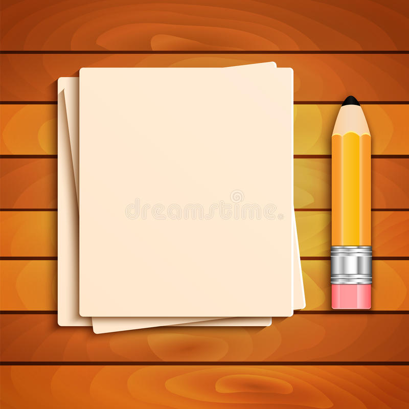 Free Pencil And A Stack Of Paper Sheets Stock Photos - 43277543