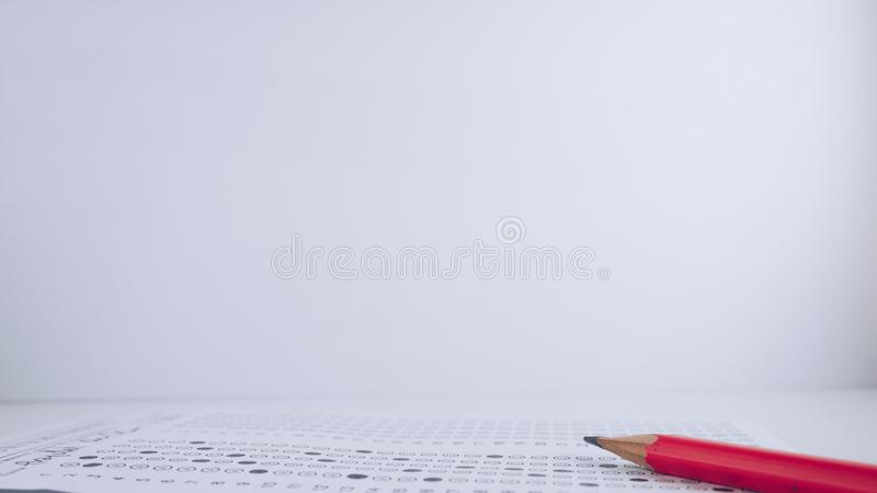 Pencil and answer sheet stock image
