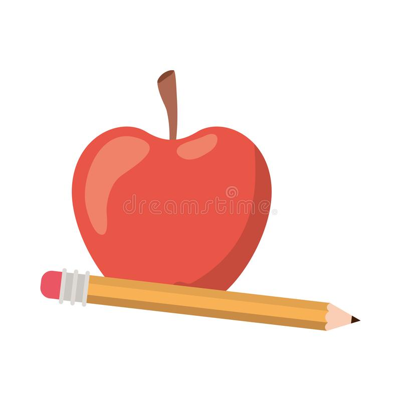 Pencil with apple fruit of color red isolated icon stock illustration