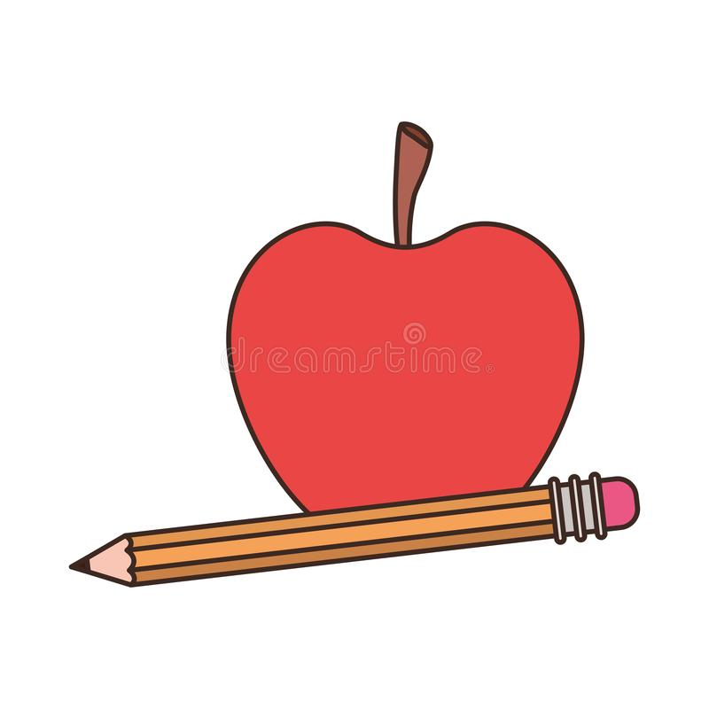 Pencil with apple fruit of color red isolated icon royalty free illustration