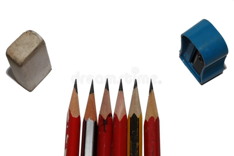 pencil as white isolate background stock photo,concept image of color pencil and black pencil on white background royalty free stock image