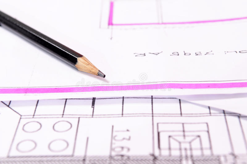 Pencil on atchitect plan stock images
