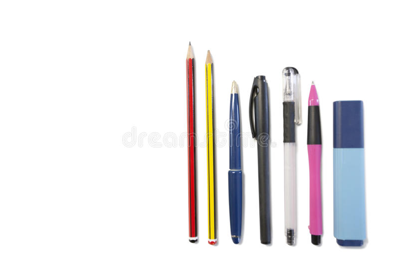 Pencil, Ballpoint Pen And Highlighter Pen On White Background Stock Images