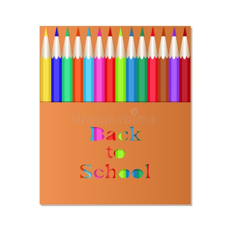 Pencil3Box av kulöra blyertspennor Den sned inskriften tillbaka till skolan Blyertspennor för förpackande design royaltyfri illustrationer