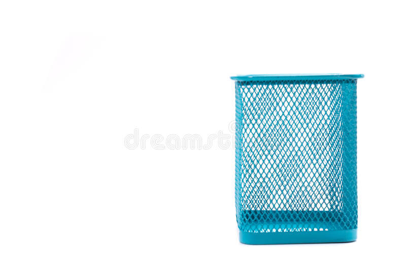 Pencil box. Empty holder cup for pens isolated on white background stock images