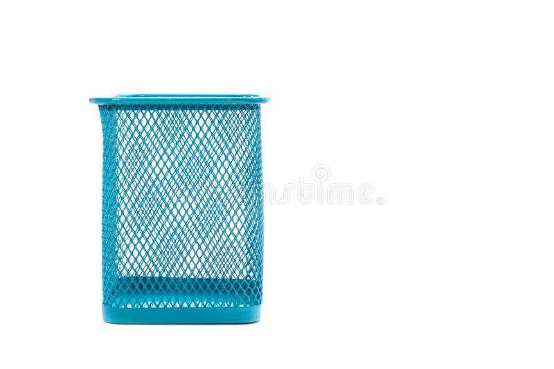 Pencil box. Empty holder cup for pens isolated on white background royalty free stock photos
