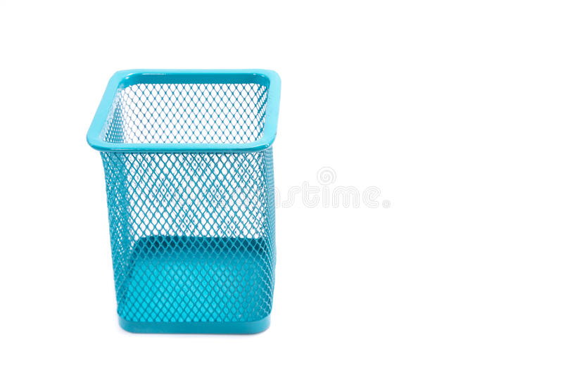 Pencil box. Empty holder cup for pens isolated on white background royalty free stock images