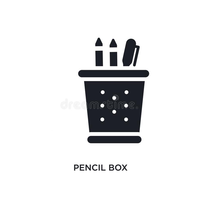 pencil box isolated icon. simple element illustration from e-learning and education concept icons. pencil box editable logo sign royalty free stock photography