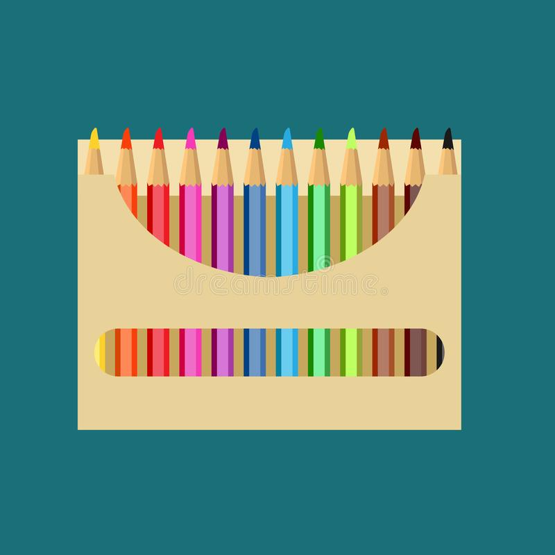 Pencil box vector icon art design education. Color draw school paper set equipment. Bright wooden tool packaging supplies stock illustration