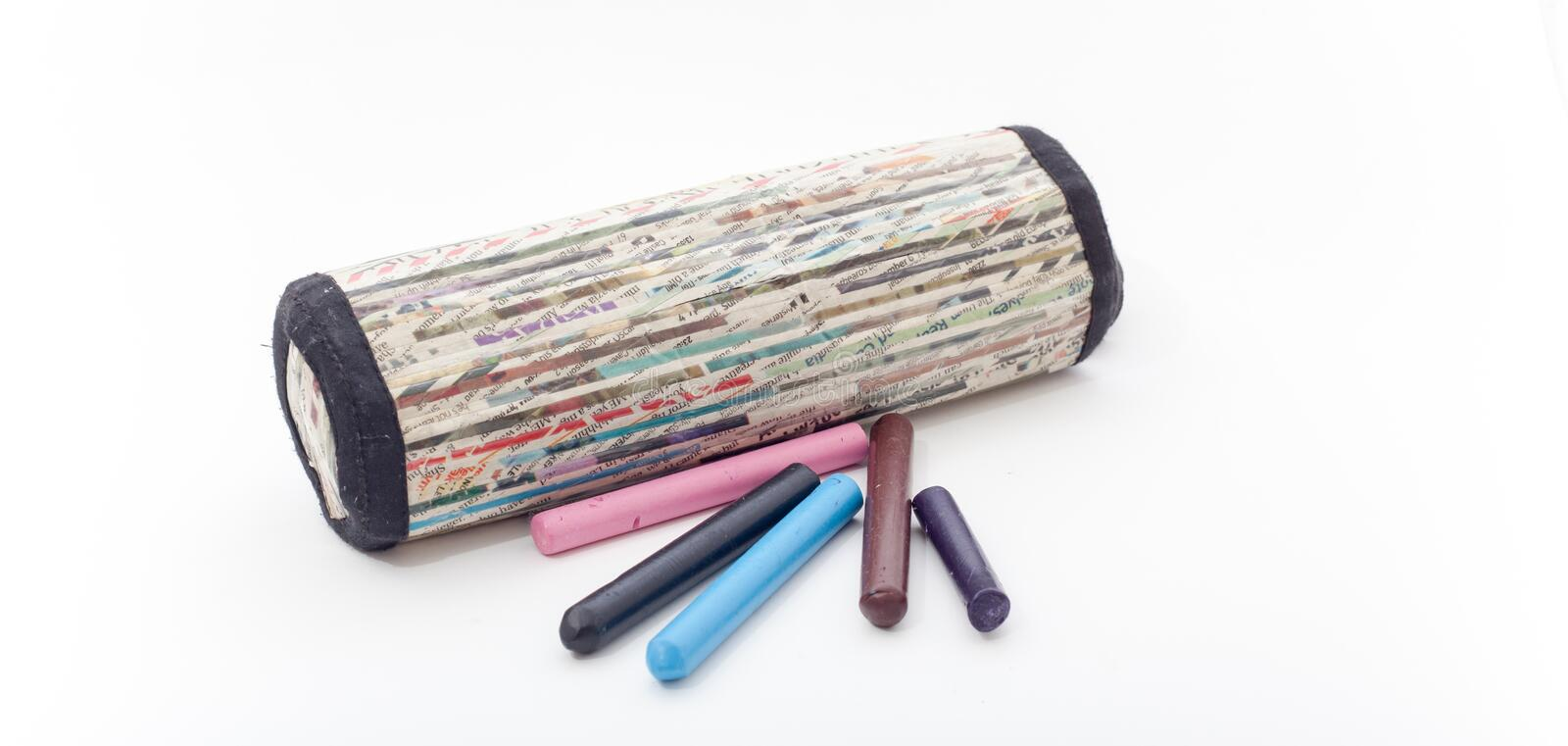 Pencil Box on the wite background, Pencil box isolated. Pencil Box on the wite background stock photo