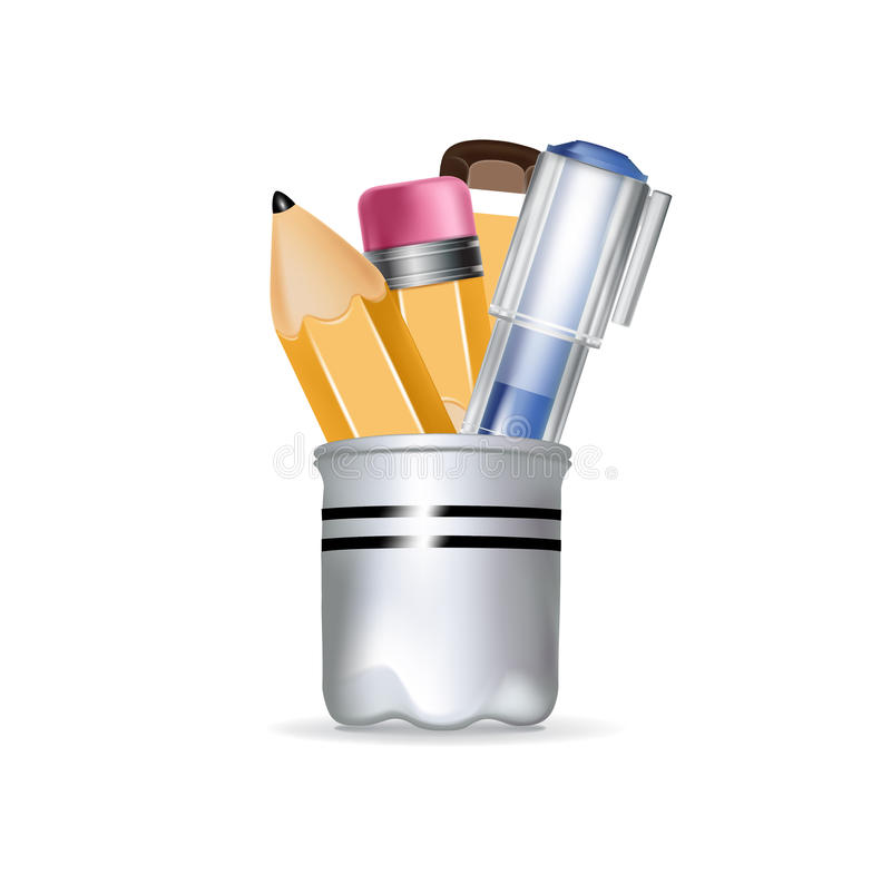 Free Pencil Box With Pens And Pencils Stock Photography - 34135452