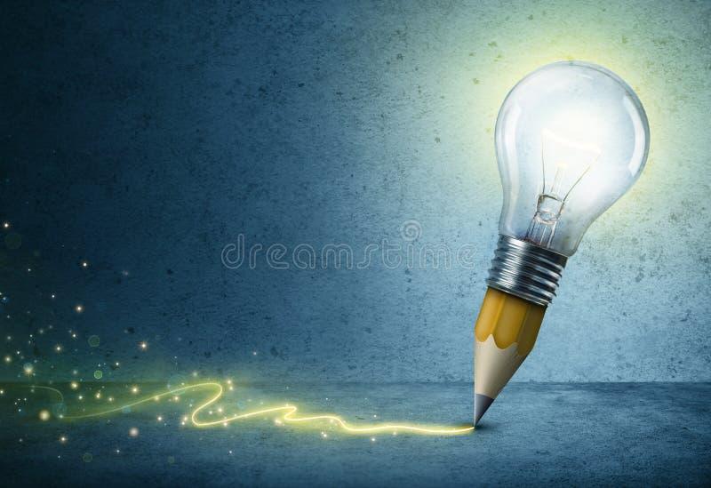Pencil-Bulb Drawing Light. Creative Idea Concept stock photo