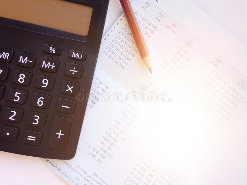 Pencil Calculator And Savings Account Passbook Or Financial