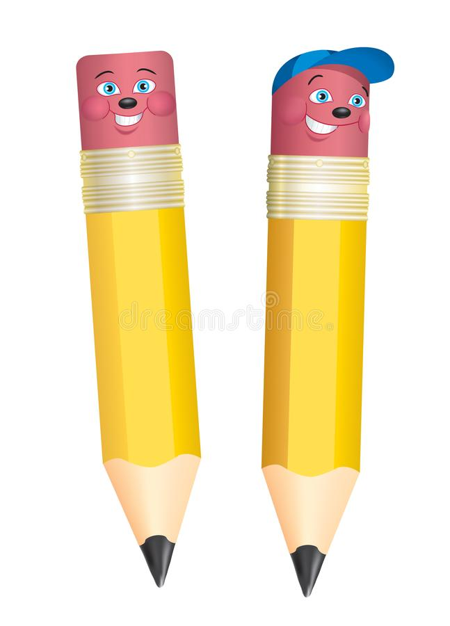 Pencil a cartoon character for promotional ads royalty free illustration