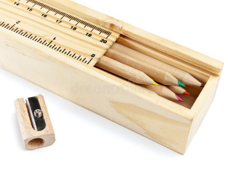 Pencil case with colour pencils stock images