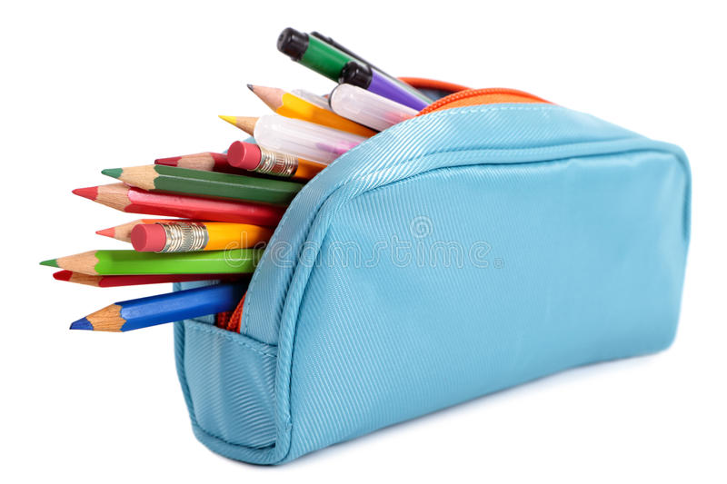 Pencil case full with pens and pencils, isolated on white background stock images