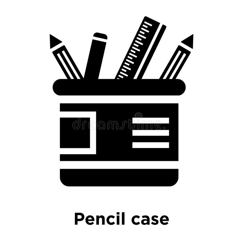 Pencil case icon vector isolated on white background, logo concept of Pencil case sign on transparent background, black filled royalty free illustration