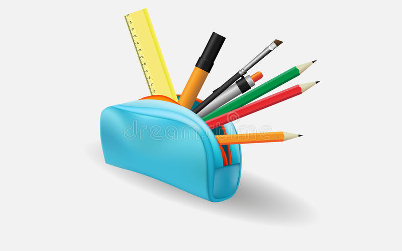Pencil case. With school supplies vector illustration