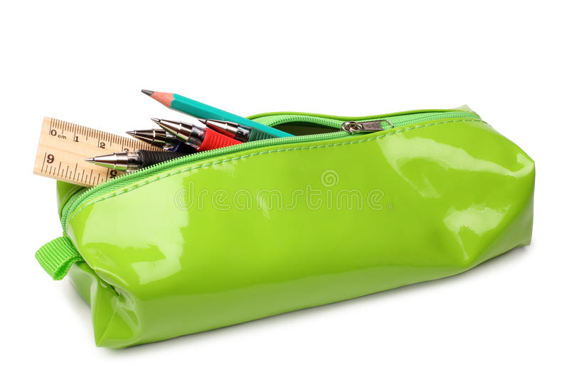 Pencil case with school supplies stock photos