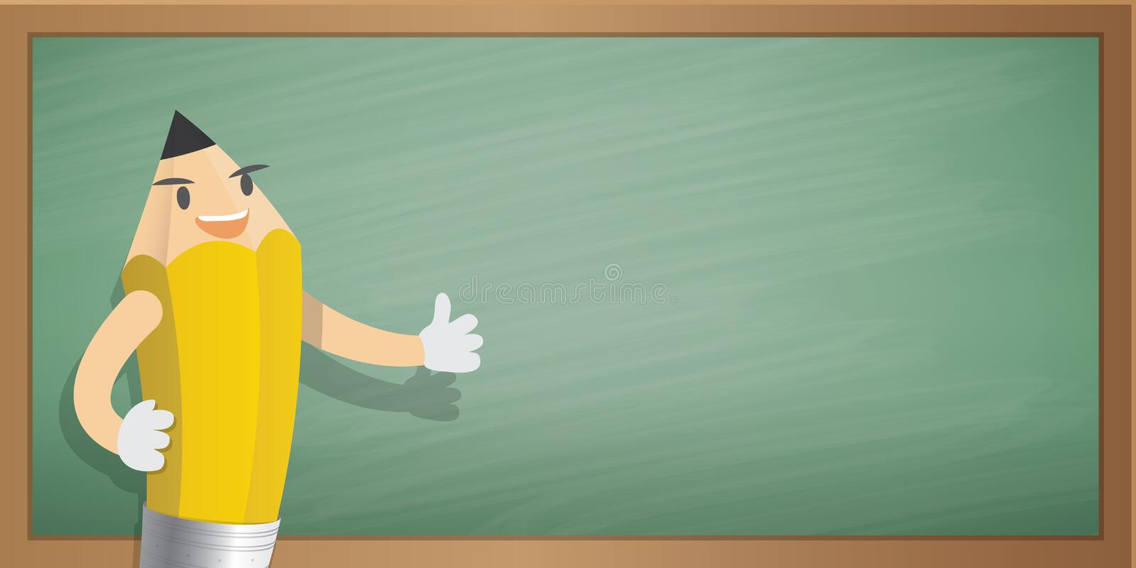 Pencil Character Cartoon Design And Green Board Frame Background ...