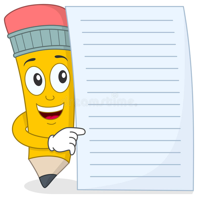 Free Pencil Character With Blank Paper Stock Image - 40137831