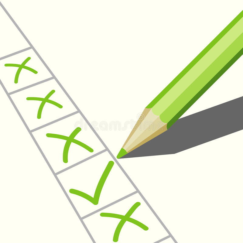 Download Pencil and check marks stock vector. Illustration of pencil - 24215315