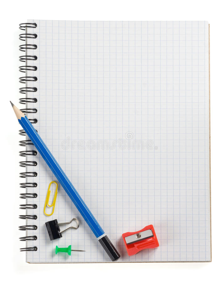 Pencil On Checked Notebook Isolated On White Stock Image
