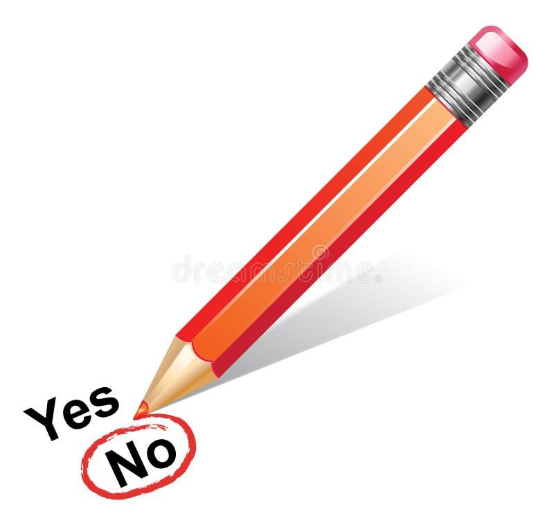 Pencil choosing no royalty free illustration
