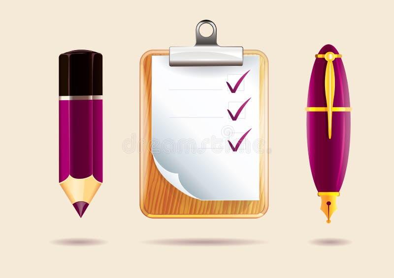 Pencil, clipboard and pen stock photo